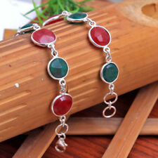 """Red and Green Faceted Ruby Emerald bracelet 925 sterling silver jewelry 8"""" Sale"""