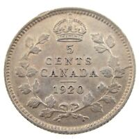 1920 Canada 5 Cents Small Silver Circulated George V Five Cents Coin P416