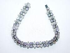 Vintage White Rhinestone Bracelet W/ Alternating Double Round & Marquise Stones