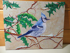 Original 20X16 Acrylic Painting by R R M ~ Blue  Jay on Holly Branch