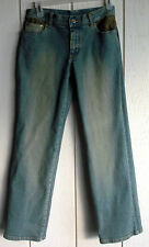 Womens 4P Style&Co 2% Stretch Mid-Rise Flare Jeans Embellished Brown Lace 28x29