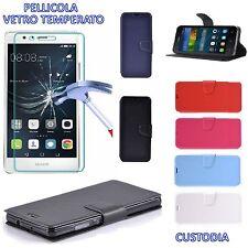 Flip Cover a Libro per Huawei P10 HQ LATERAL Custodia Portafoglio Wallet Blu