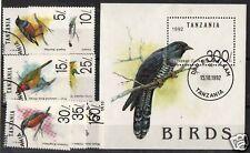 TANZANIA 1992 BIRDS SET OF 7 + MS FINE USED