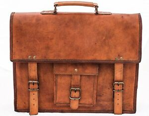 Distressed Men's Leather Business Messenger Laptop Briefcase Brown office bag