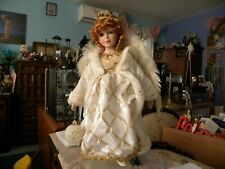 """Christmas Angel 18"""" Feather Wings Porcelain"""