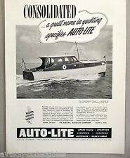 Auto-Lite Boat Battery & Spark Plug PRINT AD - 1948 ~~ Consolidated Cruiser