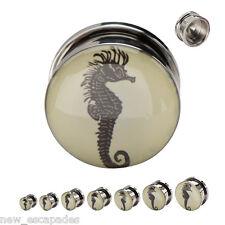 PAIR-Seahorse Vintage Style Steel Screw On Ear Plugs 10mm/00 Gauge Body Jewelry
