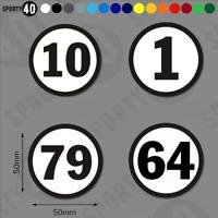 Round Number Vinyl Decals / Stickers - 1 x 50mm - Helmet Size 3226-0219B