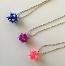 CLAIRES 3 Spikey PENDANT Necklaces COSTUME Jrs MIXED Silvertone BALL Chain
