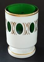Bohemian green & white glass vintage Art Deco antique small spill vase