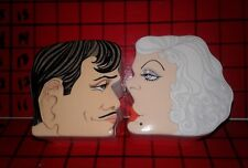 Clark Gable & Jean Harlow Kissing Aldon Covered Trinket Porcelain Boxes