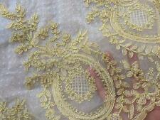 """11.5"""" Corded Wedding Trim Bridal Lace Edging Gold Embroidery Lace Trim 1 Yard"""