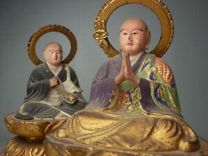 "JAPANESE ANTIQUE 23cm 9.1"" PAIR BUDDHIST MONK ZENDOU HOUNEN BUDDHA STATUE GOLD"