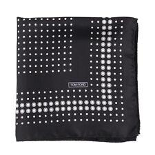 New $180 TOM FORD Black and White Dot Print Silk Pocket Square