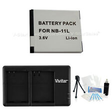 NB-11L Replacement Battery & USB Dual Charger f/Canon A-3400 4000 4050 2400 ELPH