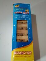 Juego torre de bloques de madera palos con numeros de 45 piezas