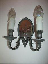 Two Light Pewter Mirrored Wall Fixture Light Sconce with Wheat Design