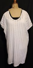 COUNTRY ROAD ~ White Broderie Anglaise Lace Cotton Dress w Shift Slip Lining M