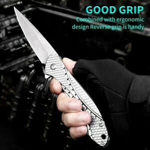 Drop Point Folding Knife Pocket Hunting Wild Survival Tactical Military Flipper