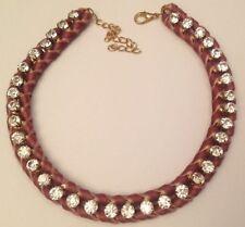 collier ruban velours mauve tressé solitaire cristaux diamant couleur or 5350