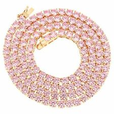 Rose Gold Finish Tennis Necklace Hip Hop 18 Inch Chain Pink Simulated Diamonds