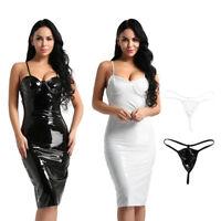 Sexy Womens Faux Leather Dress Spaghetti Strap Club Midi Bodycon Dress +G-String