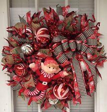 """Christmas Handmade Overstuffed Deco Mesh Door Wreath 24"""" Candy Cane ELF FUN"""
