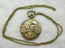 Quartz pocket watch with chain motorcycle image NIP  unbranded