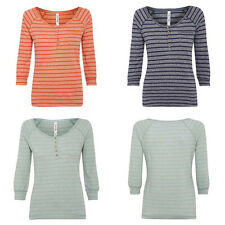 Weird Fish Summer Haze Stripe Tshirt Top size 8-20 3 colours 3/4 sleeve cotton