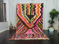 "Boujad Handmade Tribal Moroccan Rug 5'6""x8'5"" Striped Colorful Berber Wool Rug"