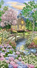 Church Religious Garden Flowers Cotton Fabric Timeless Treasures C8001 24