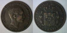 1878 OM Copper Spain 10 Centimos Spanish Coin XF