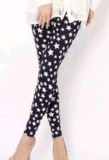 Black With White Small Stars Women's Stylish Stretchy Slim Fitting Leggings