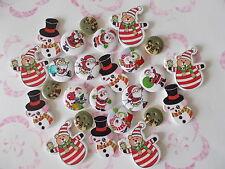 25 Botones de Madera Coser Patrón Variado de Navidad Scrapbook Mezclados aleatoria (1a)