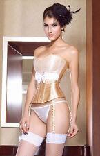 Señoras dorado y blanco cremoso Con estructura Corsé & Tanga Conjunto Bustier Lencería Talla 10