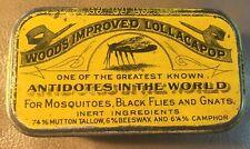 """Antique Mosquito Antidote Tin """" Woods Impr. Lollacapop"""" Super Mosquito Graphics"""