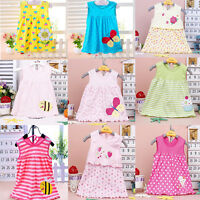 Baby Cotton Vest Dress Girls Princess Shirt Dresses Random Colors 1PC