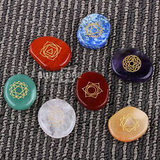 7 piece Engraved chakra stone palm stone crystal reiki healing with one pouch