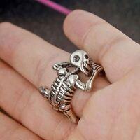 Halloween Skull Silver Plated Women/Men New Fashion Finger Ring Gift Size Open