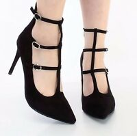 Pointed Toe Pump Multi Strap Stiletto High Heel Women's Dress Shoes - Black