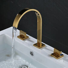 Gold Plate Bathroom 3pcs Sink Faucet Dual Handles Centerset Mixer Tap Desk Mount