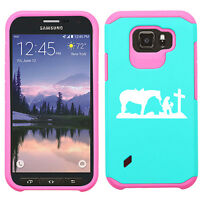 For Samsung Galaxy S6 S7 Active Shockproof Hard Case Cowgirl Praying Cross Horse