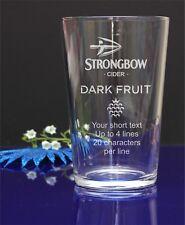 Personalised Strongbow Dark Fruit Cider pint glass.Birthday,Christmas gift 293