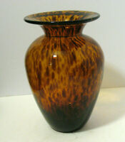 Gorgeous Hand Blown Amber Brown Tiger Patterned Glass Vase
