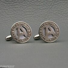 Arkansas City - Winfield Railway Transit Token Cufflinks, Vintage Kansas Trolley
