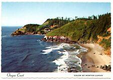 Oregon Coast Postcard Haceta Head and Lighthouse Beach Water Unposted Vintage