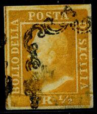 ITALIEN ALT SIZILIEN 1859 1 gestempelt SEHR SCHÖNE MARKE  signiert (E7258b