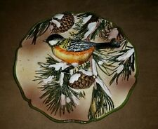 Rare Ganz 3d Decorative Chicadee Songbird Plate with pine cones and snow