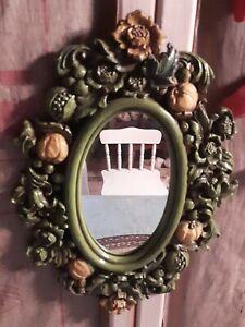 "Vintage Mid-Century Ornate Design Syroco USA Oval Mirror Green & Yellow 15"""