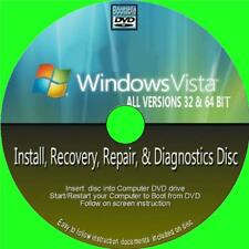 WINDOWS VISTA INSTALL RESTORE RECOVER REPAIR PCDVD ALL 32/64 Bit NEW ALL VERSION